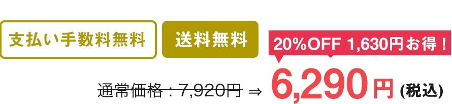 支払い手数料無料 送料500円 通常価格7,920円を20%OFF1,630円もお得!6,290円(税込)