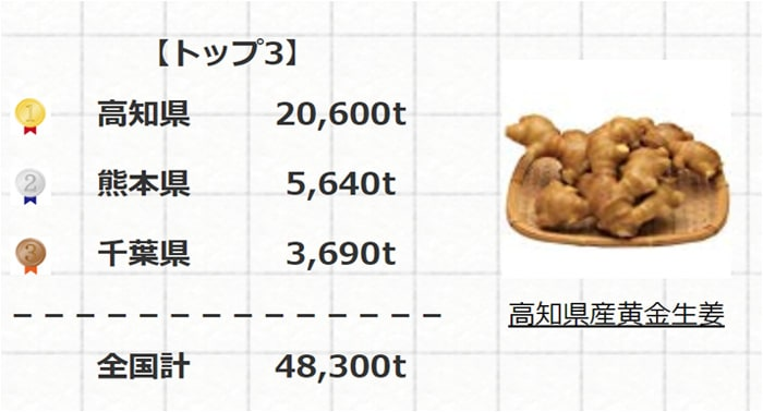 生姜生産量 全国トップ3県
