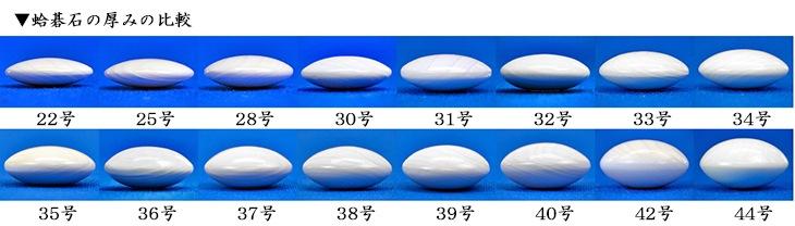 蛤碁石の厚みの比較