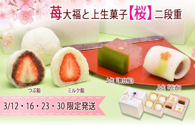 苺大福と上生菓子桜二段重
