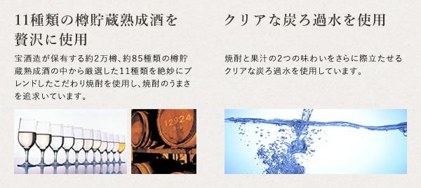 11種類の樽貯蔵熟成酒を贅沢に使用 クリアな炭ろ過水を使用