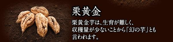 栗黄金 栗黄金芋は、生育が難しく、収穫量が少ないことから「幻の芋」とも言われます。