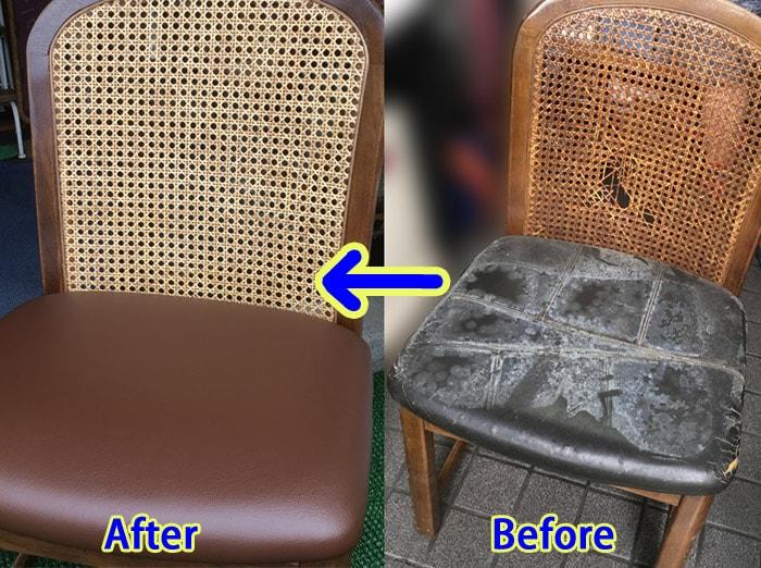 椅子の背の籐張替