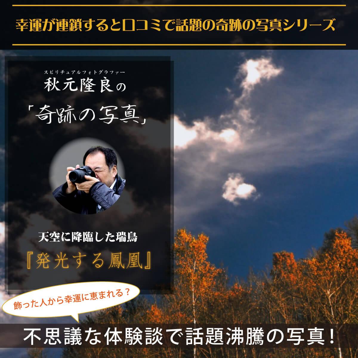 【奇跡の写真】発光する鳳凰 ≫飾るだけで幸運が連鎖すると話題!秋元隆良の開運フォト作品 開運グッズ