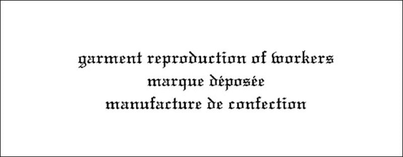 GARMENT REPRODUCTION OF WORKERS一覧