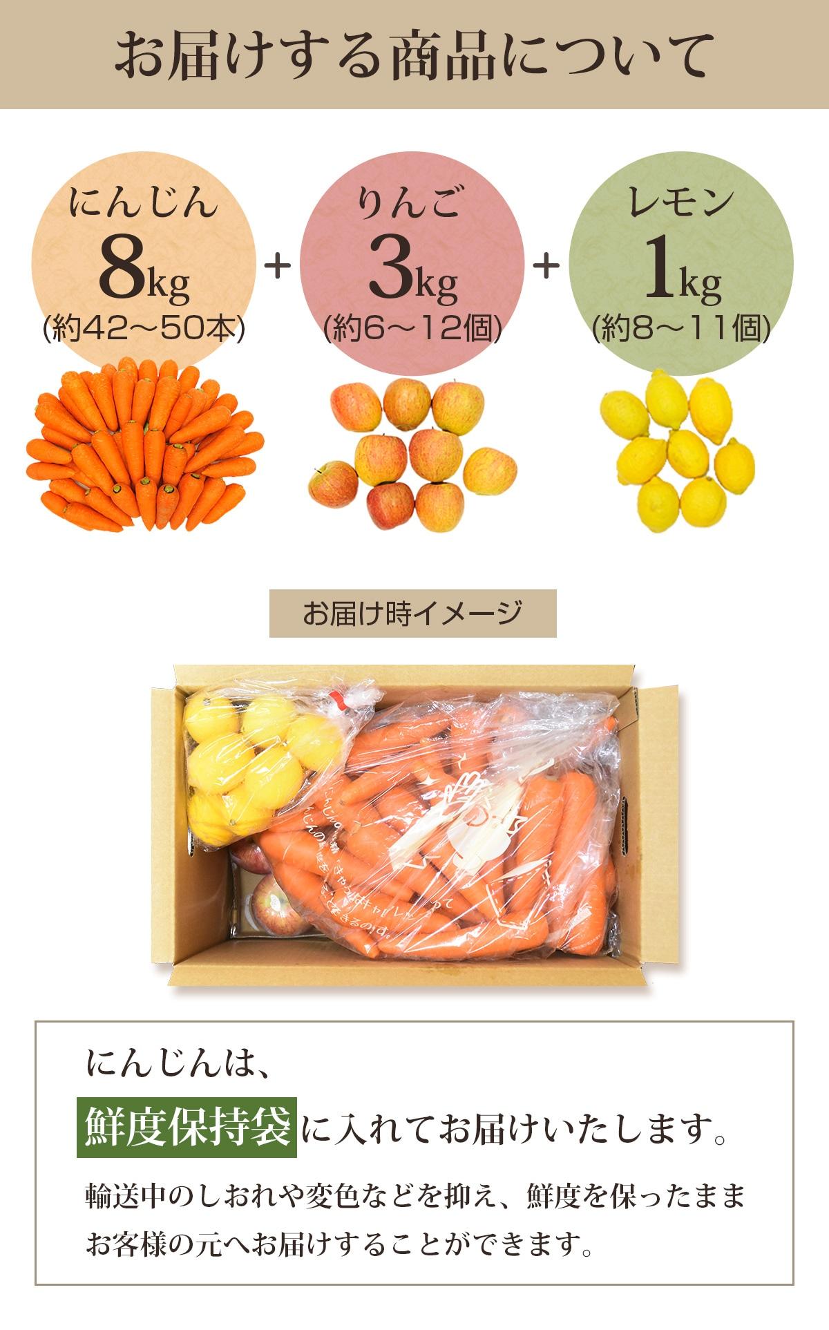 お届けする商品(人参8kg+りんご3kg+レモン1kg)