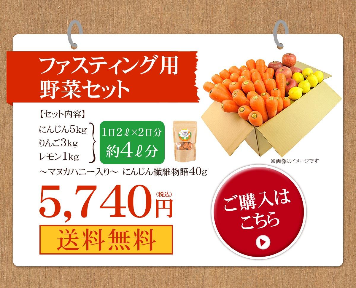 ファスティング用野菜セット(にんじん 5kg、りんご 3kg、レモン 1kg、マヌカハニー入りにんじん繊維物語 40g) 5,740円(税込)送料無料