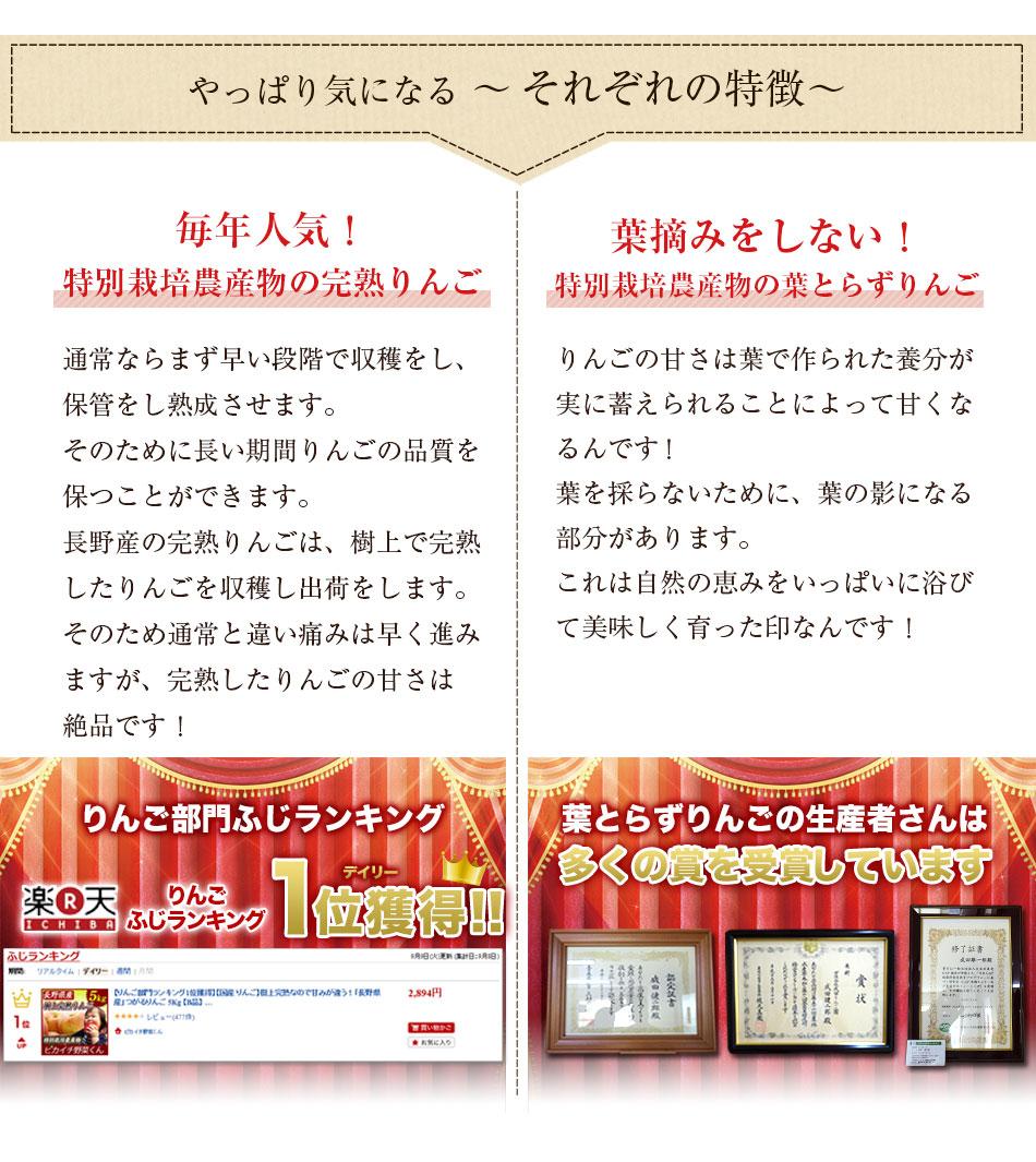 長野県産:毎年人気の特別栽培農産物の完熟りんご、青森県産:葉摘みをしない特別栽培農産物の葉とらずりんご