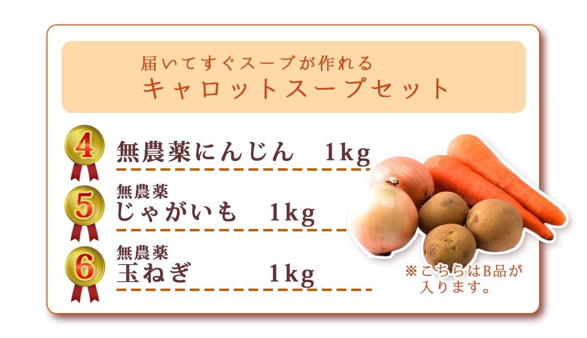 無農薬にんじん1kg、無農薬じゃがいも1kg、無農薬玉ねぎ1kg