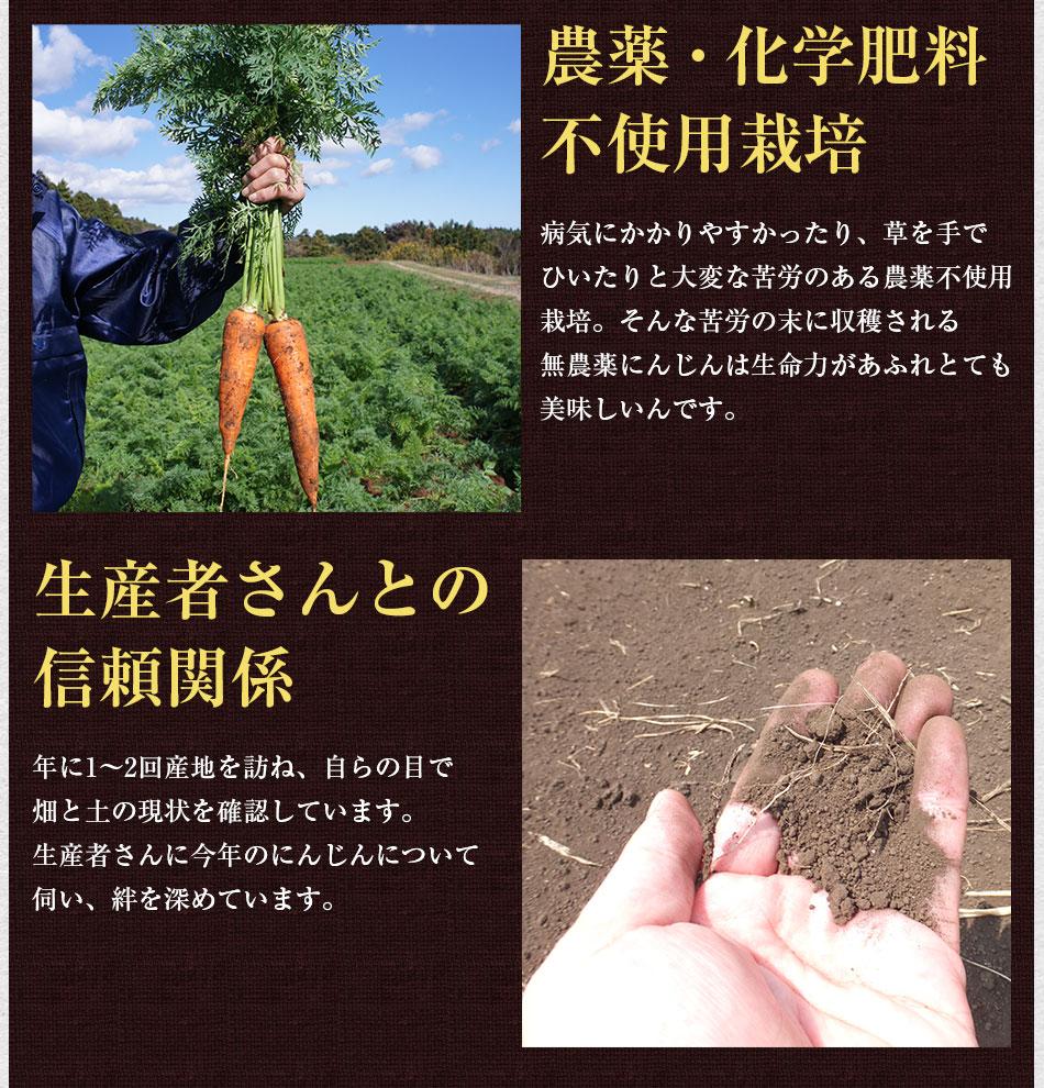 農薬・化学肥料不使用栽培の人参だけを使用し、生産者さんとの信頼関係を大切にしています