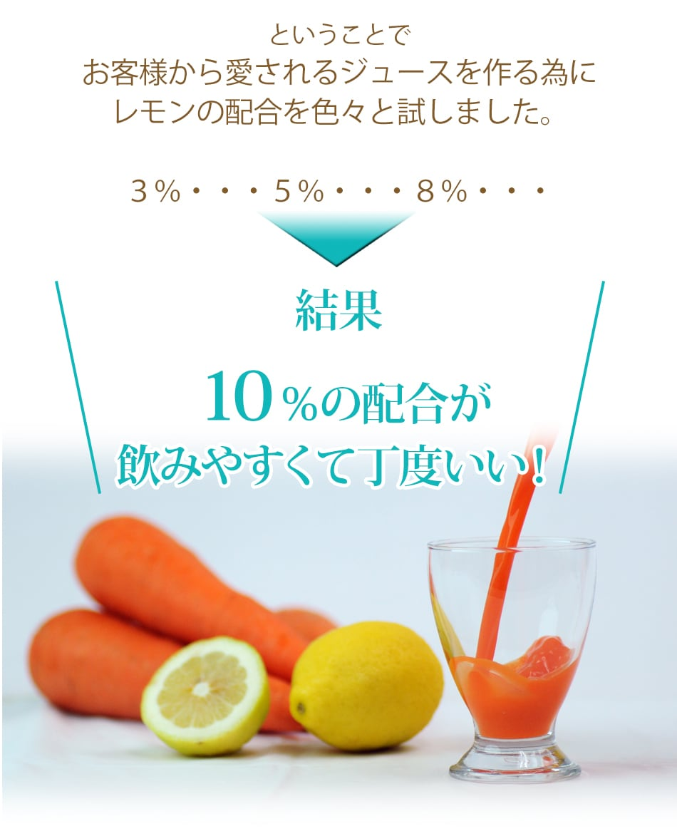 お客様から愛されるジュースを作るために色々と試した結果10%の配合が丁度いい