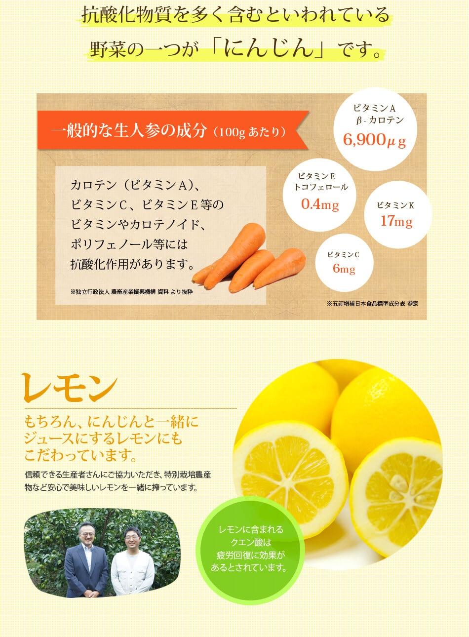 一般的な生人参の成分とレモン