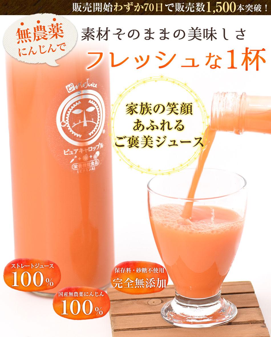 素材そのままの美味しさ 無農薬にんじんでフレッシュな1杯 保存料・砂糖不使用 完全無添加