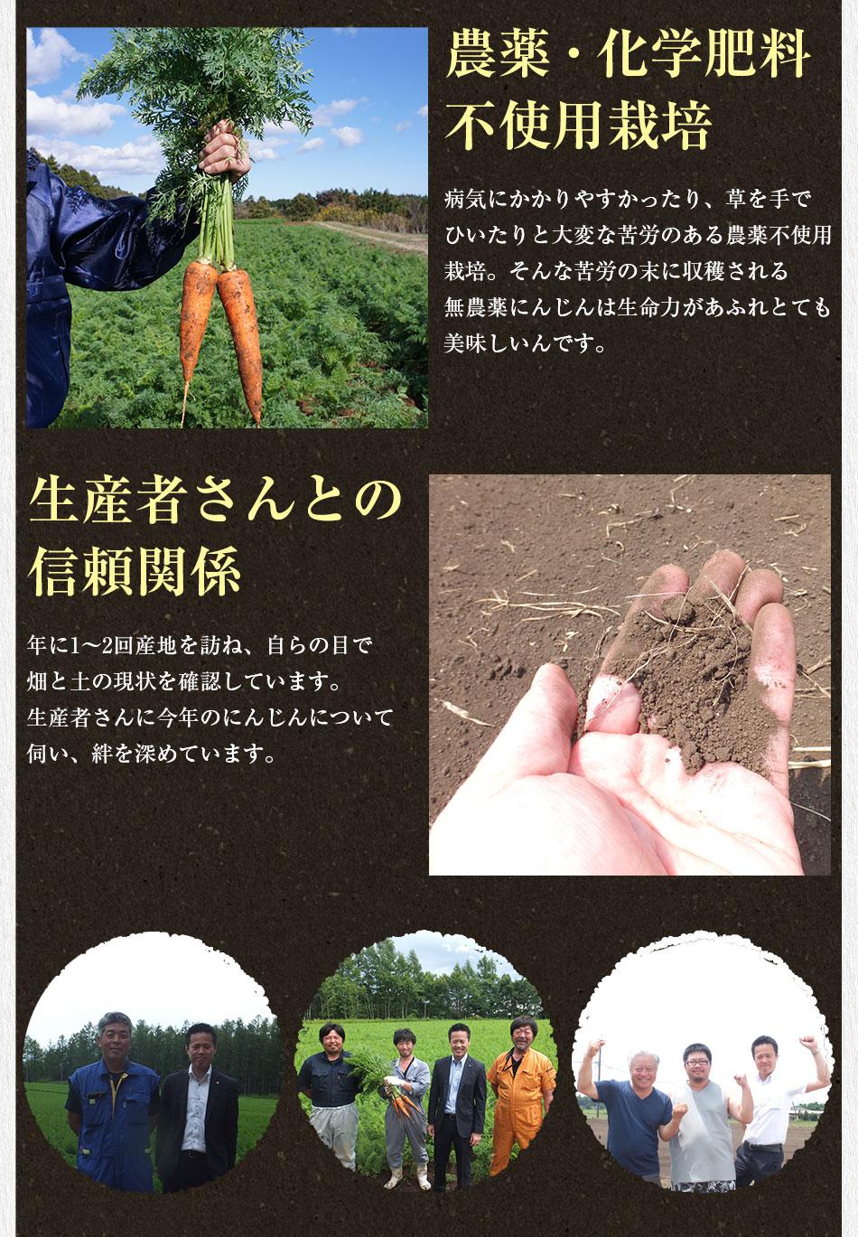 農薬・化学肥料不使用栽培 生産者さんとの信頼関係