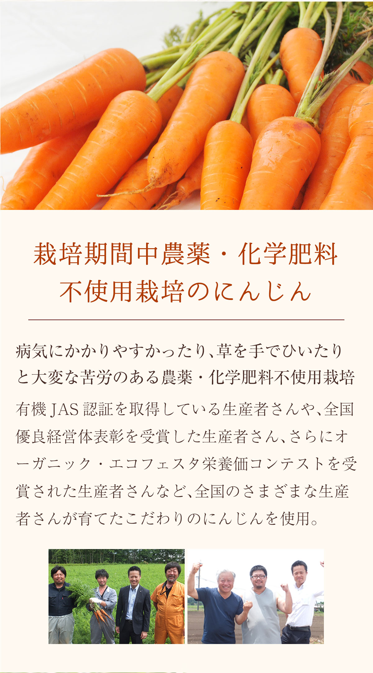 農薬・化学肥料不使用にんじん