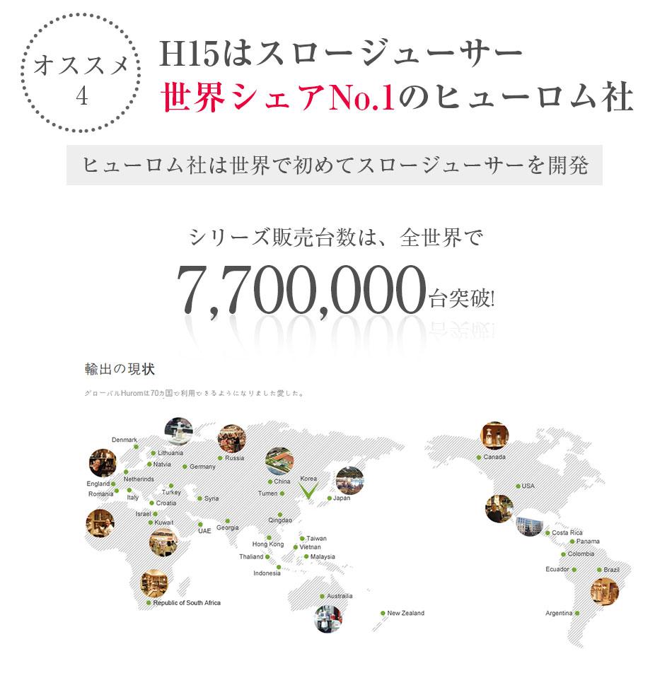 ヒューロムスロージューサーは世界販売台数7,700,000台の世界シェアNO.1のhurom社のスロージューサー