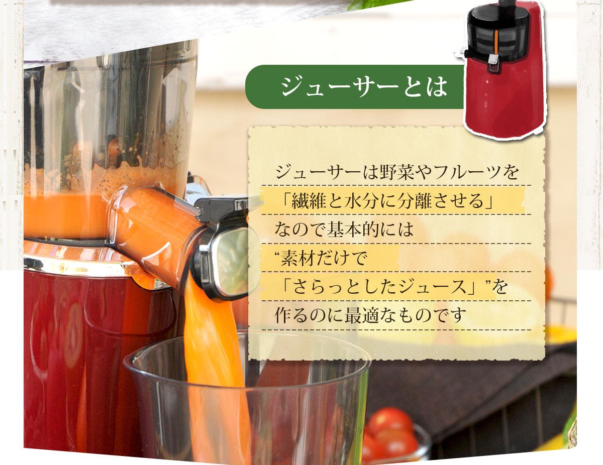 ジューサーとは野菜やフルーツを繊維と水分に分離させる