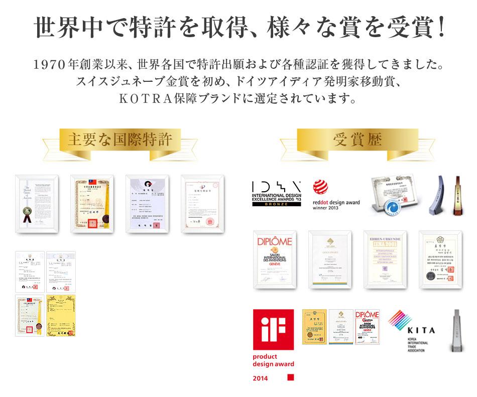 世界中で特許を取得、様々な賞を受賞!