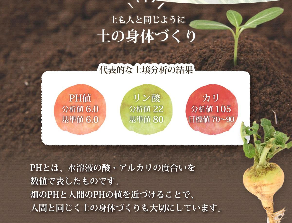 畑のPHと人間のPHの値を近づけることで人間と同じく土の身体づくりも大切に