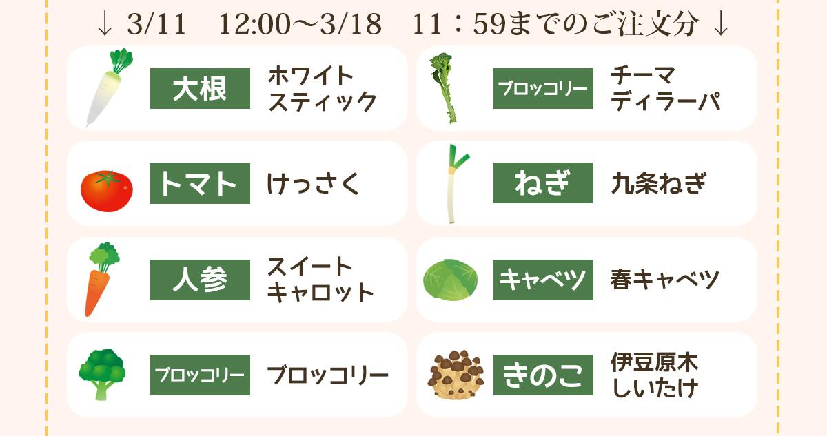 3/11 12:00〜3/18 11;59までのご注文分の品種
