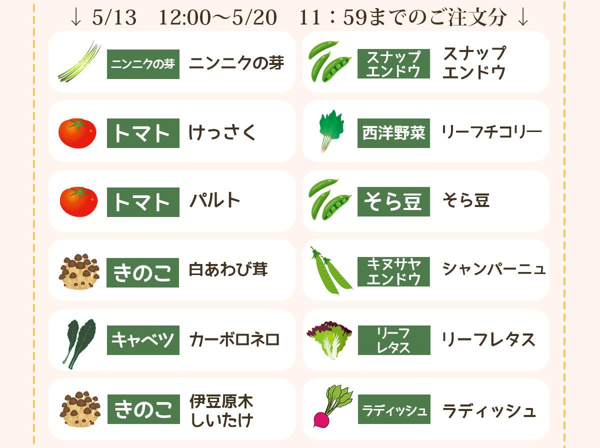 5/13 12:00〜5/20 11:59までのご注文分の品