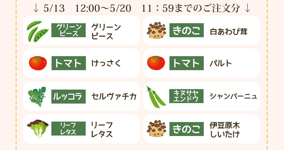 5/13 12:00〜5/20 11:59までのご注文分の品種