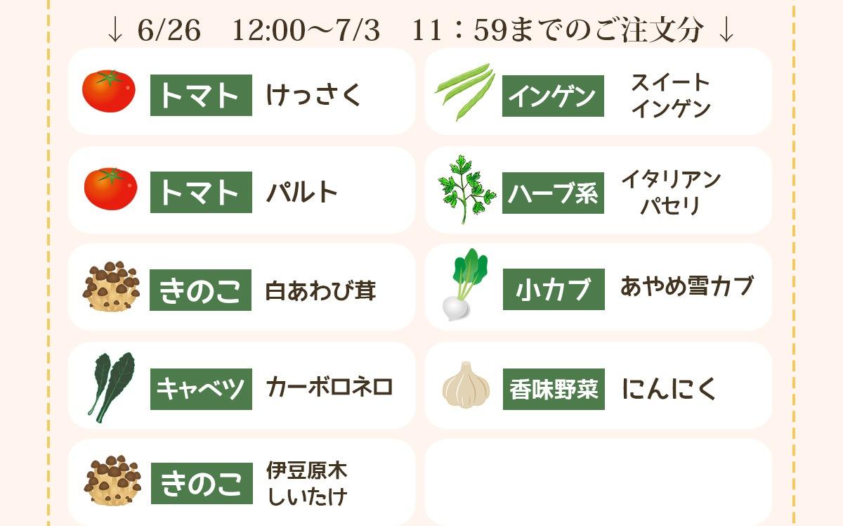 6/26 12:00〜7/3 11:59までのご注文分の品種