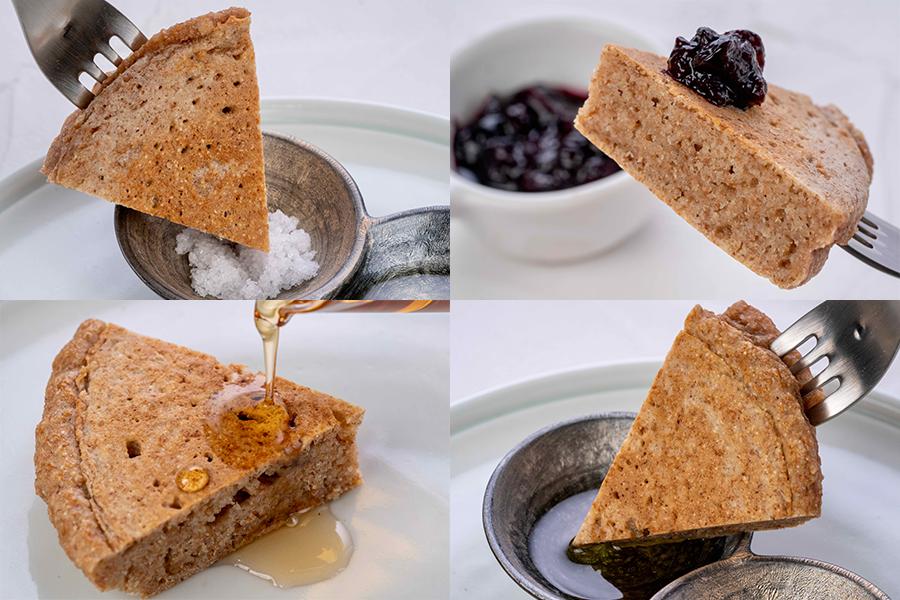 パンケーキの食べ方,パンケーキを塩・ジャム・メープルシロップ・オリーブオイルで食べる