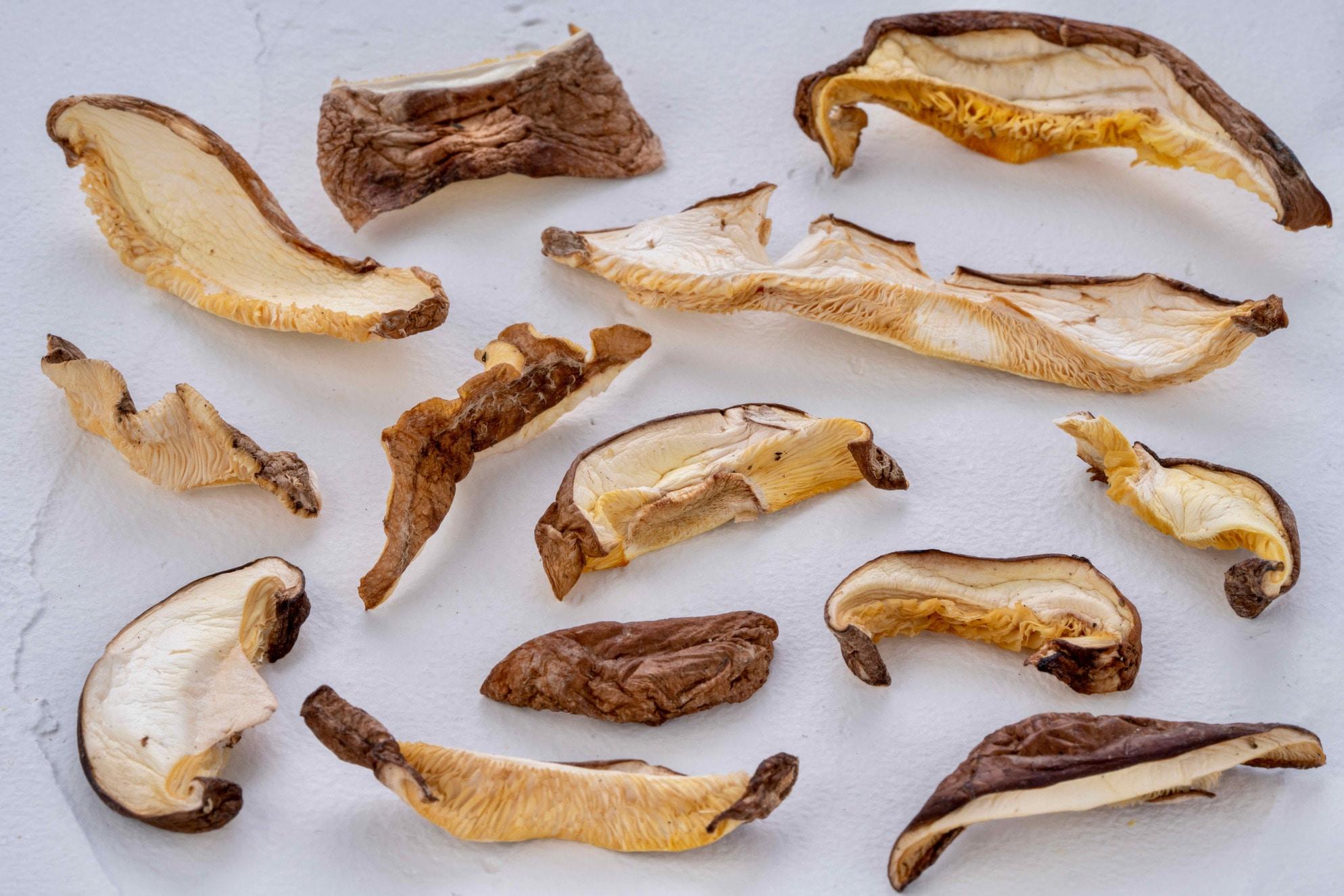様々なサイズに乾燥原木椎茸,北上しいたけ園の乾燥椎茸スライス