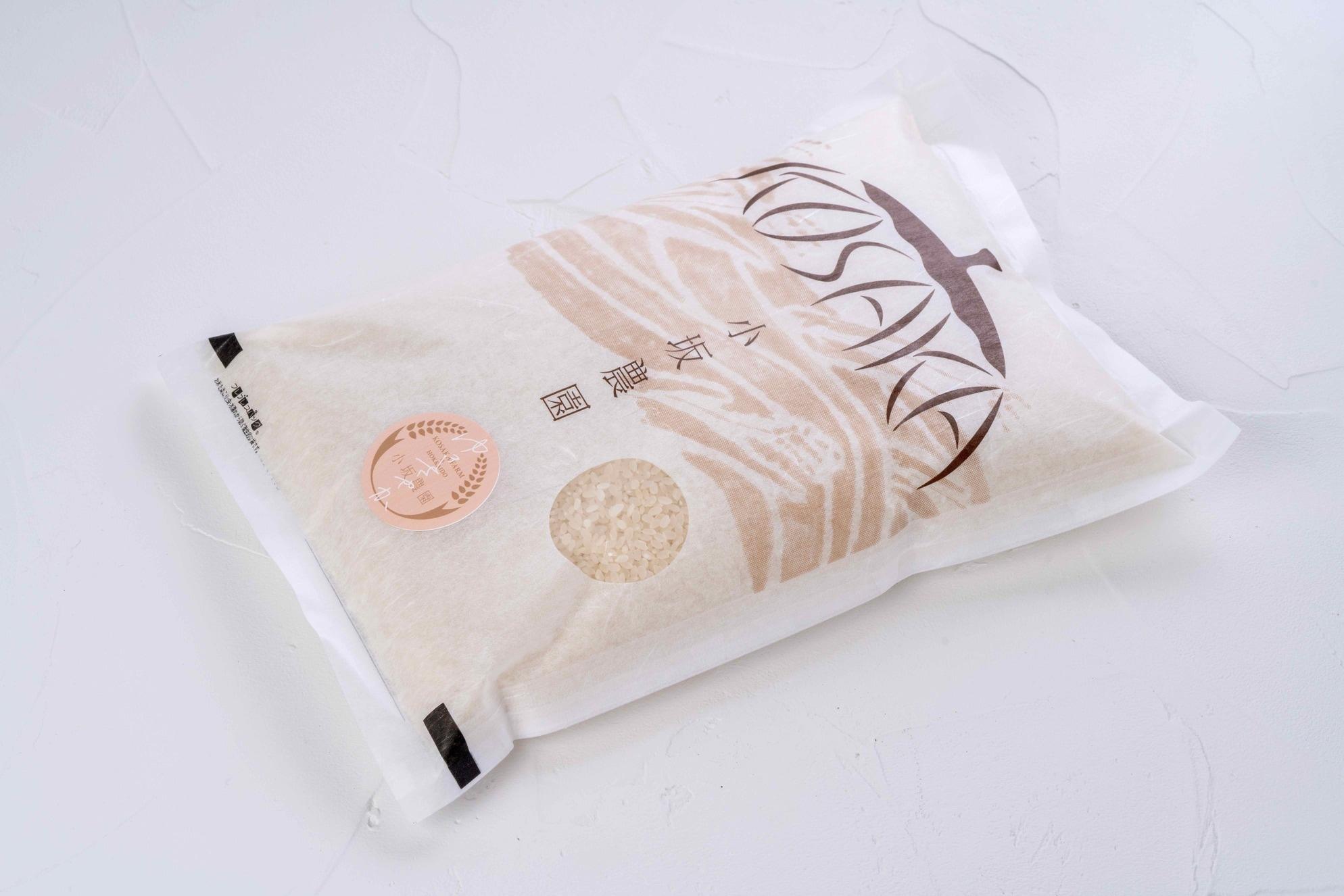 通販・お取り寄せ北海道米,むかわ町小坂農園のゆきさやかのパッケージ