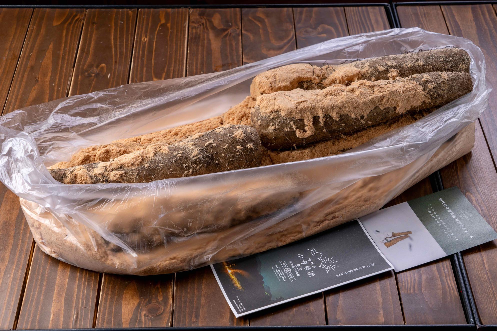 通販・通り寄せ北海道産だるまいも,むかわ町にある四代目中澤農園から届いただるま芋(長いもの一種)
