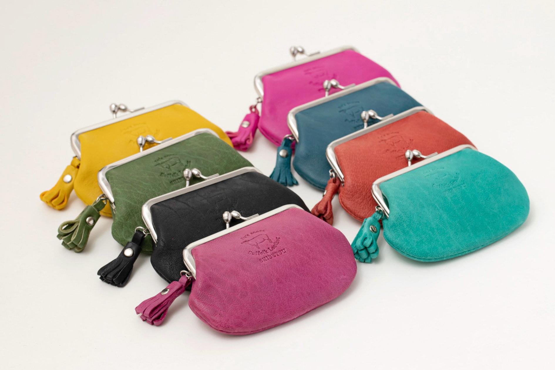北海道の羊革で作られたFu's roomの「がま口(Mサイズ)」8カラー,サフォークレザーのハンドメイド財布,札幌スタイル認証製品
