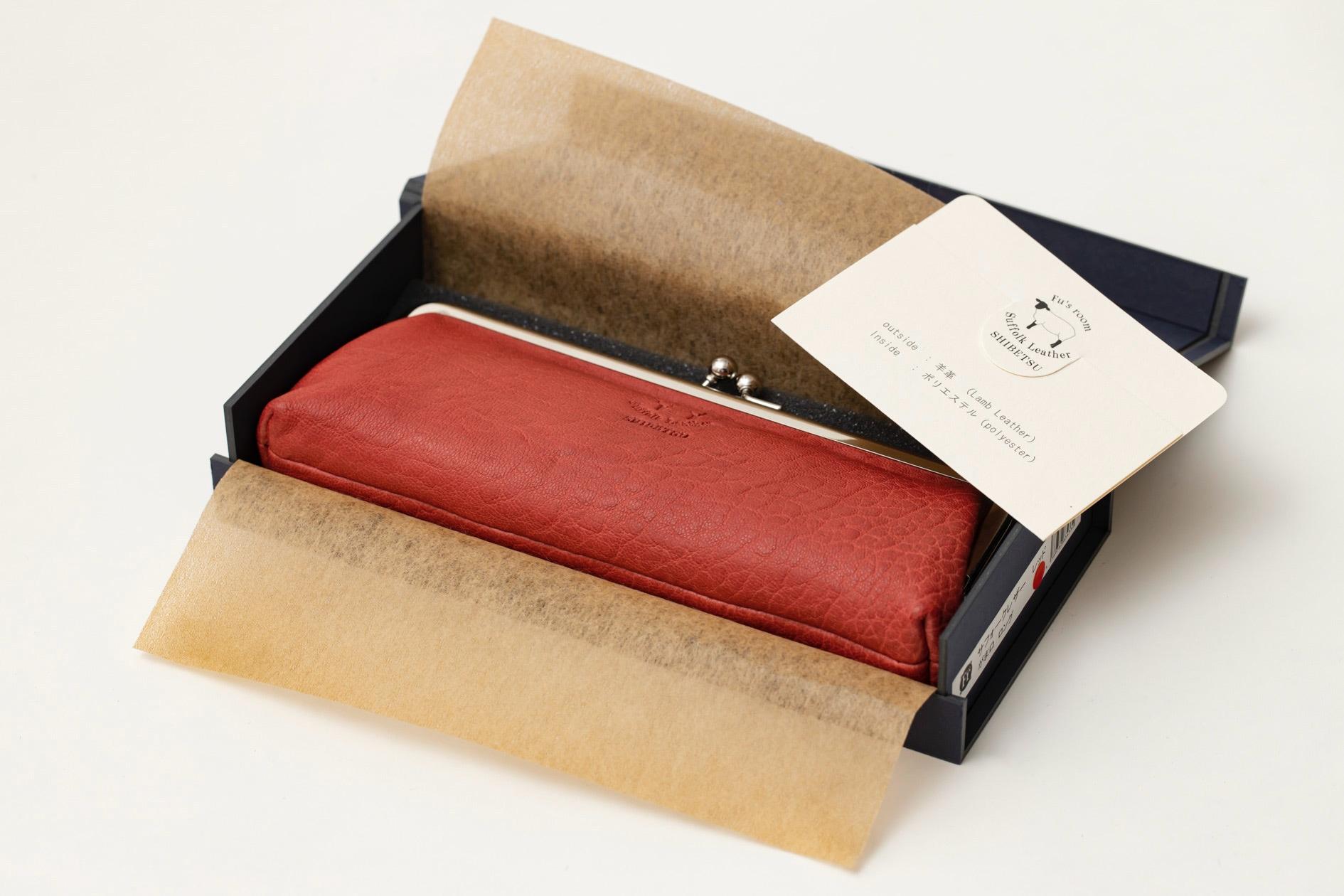 ギフト箱に入ったFu's roomのサフォークレザーの「がま口(ロングサイズ)」,プレゼント用のがま口財布