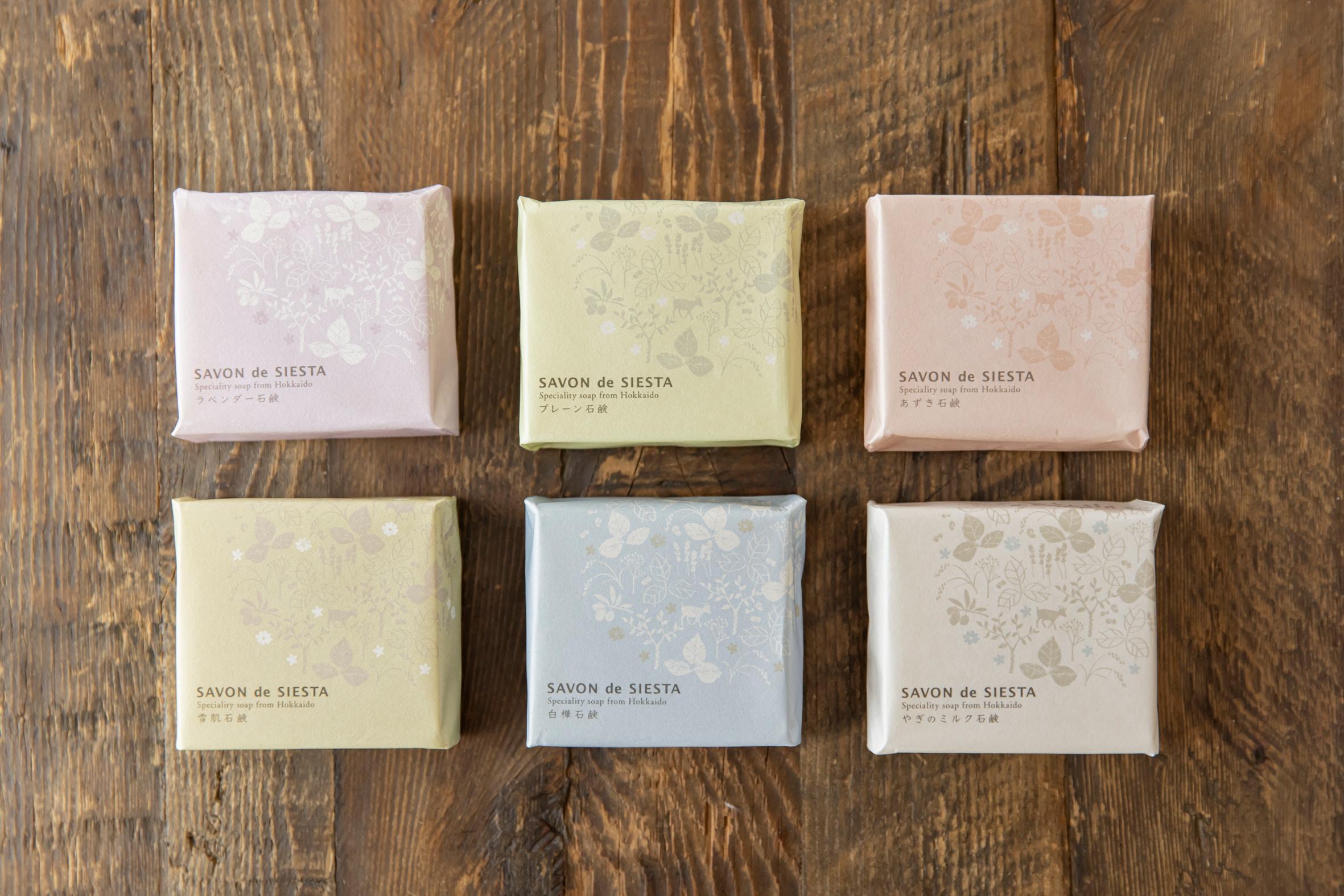 SAVON de SIESTA(サボンデシエスタ)のHand made Solid Soap《プレーン石鹸/ラベンダー石鹸/あずき石鹸/やぎのミルク石鹸/白樺石鹸/雪肌石鹸》,札幌スタイル認証製品