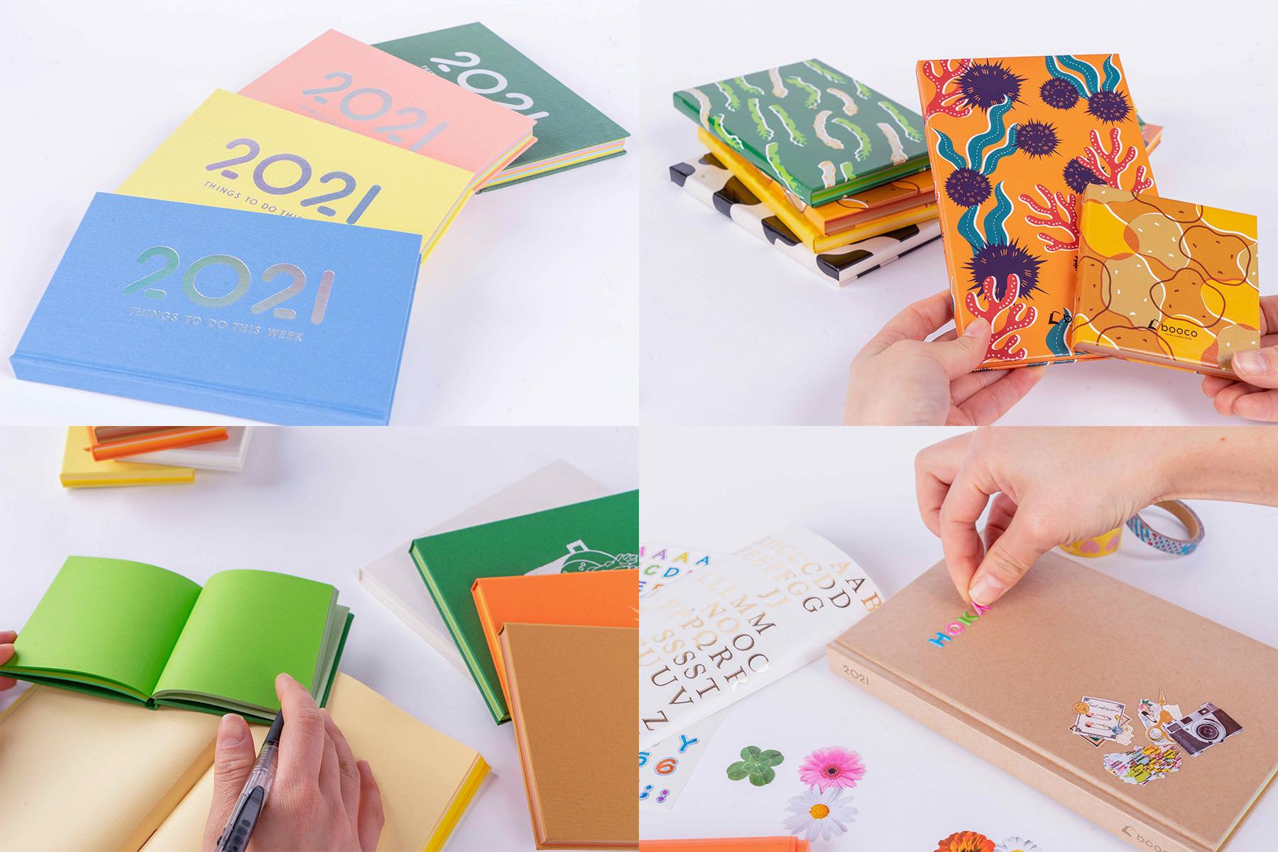 石田製本のオリジナル文房具boocoシリーズ,カラフルなノート・メモ帳・日記帳