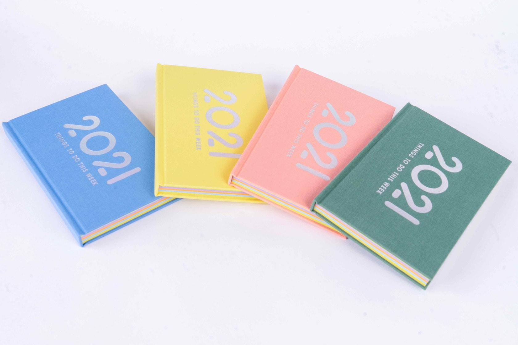 石田製本の「booco 2021 diary 」4種類,カラフルな布貼りの日記帳