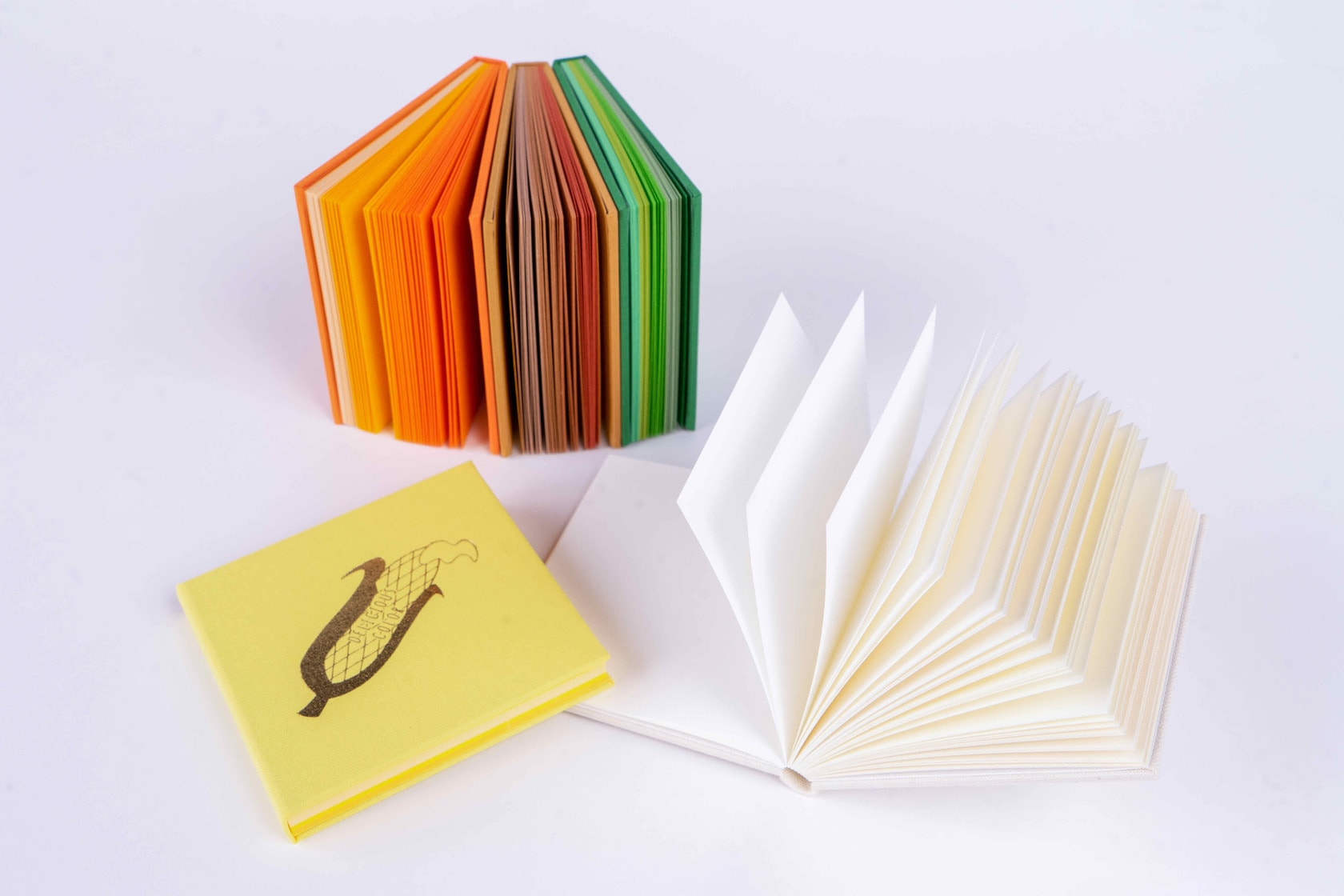メモ帳の本紙が見える状態に並べる,booco DELICIOUS COLOR クロス仕上げ(MEMO)