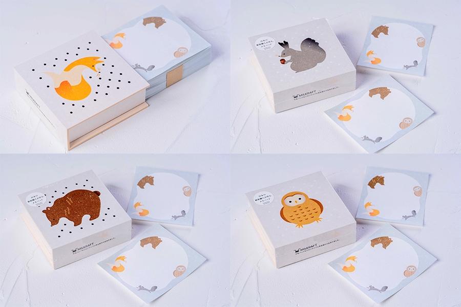 4種類の紙箱のメモパッド,キタキツネ・エゾリス・蝦夷ヒグマ・蝦夷フクロウがデザインされたメモ用紙と紙箱