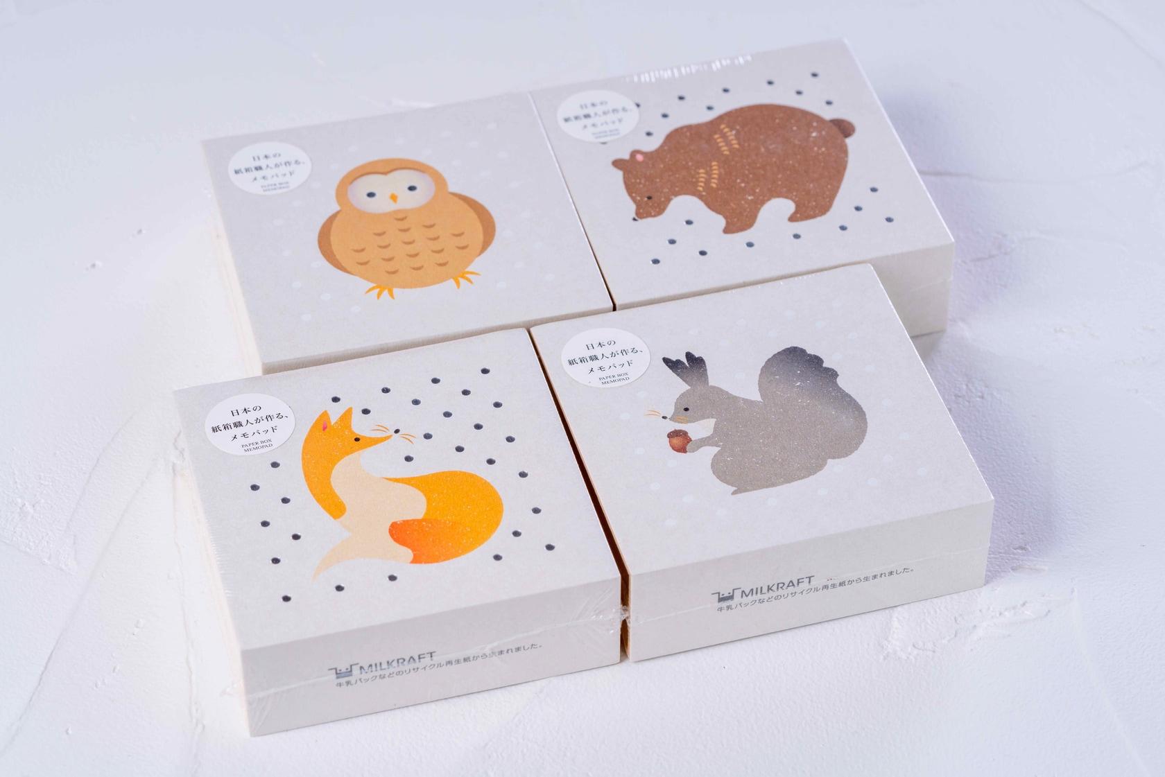 通販・お取り寄せ紙箱のメモパッド,北海道の動物が描かれたモリタ株式会社オリジナルのメモセット