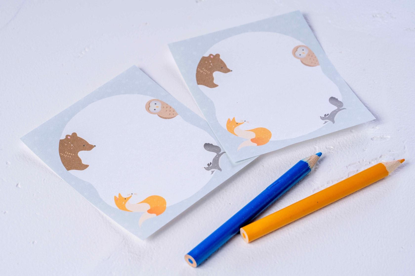 北海道の動物がデザインされたメモ用紙と色鉛筆,モリタのメモパッド