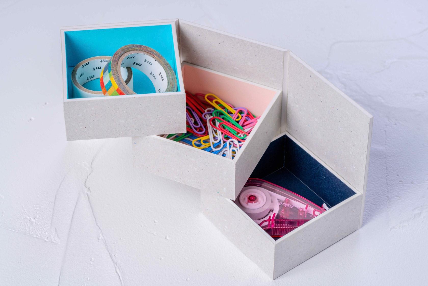 文房具や雑貨などの小物を収納できるモリタのグレーの紙箱,ミニマムスペース