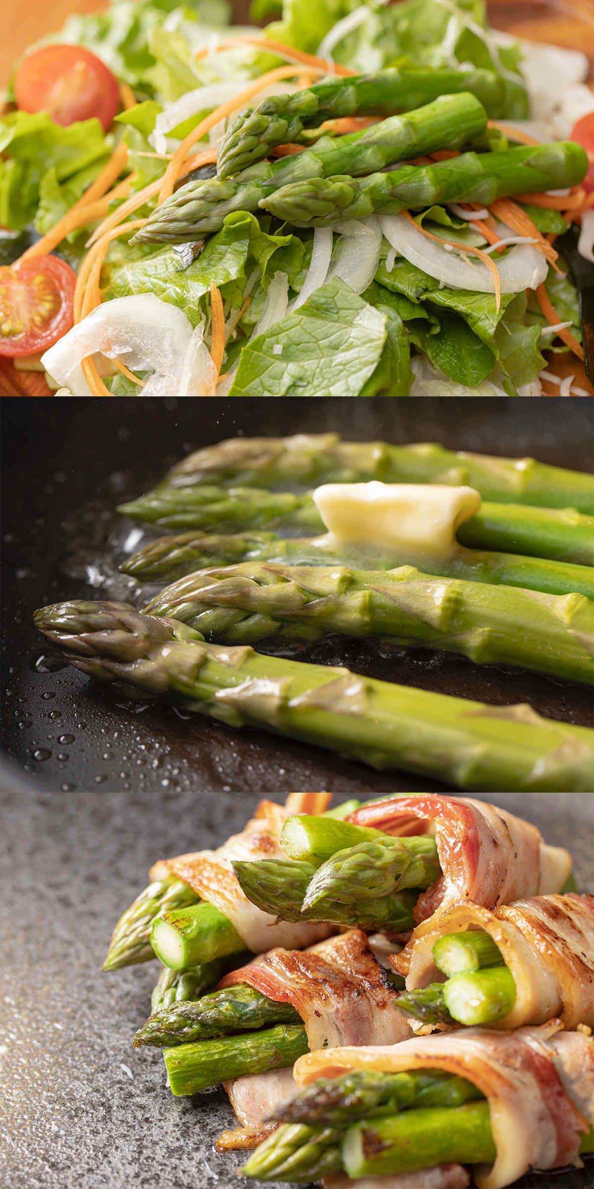 北海道産グリーンアスパラのサラダ,極太アスパラのバター焼き,アスパラのベーコン巻き,アスパラベーコン