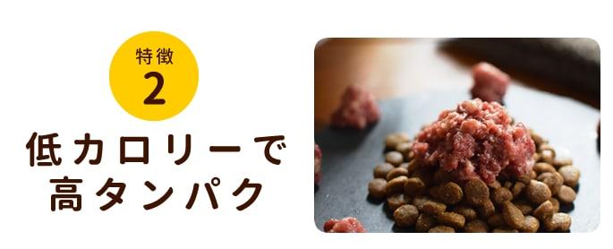 特徴2 低カロリーで高たんぱくな生肉は室内飼いの愛犬や老犬にもピッタリです。
