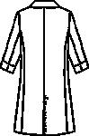 ユナイト/ミズノ女子ドクターコート七分袖バックスタイル