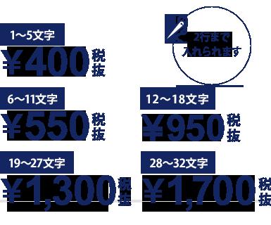 1〜5文字¥420/6〜11文字¥605/12〜18文字¥1,015/19〜27文字¥1,404/28〜32文字¥1,814