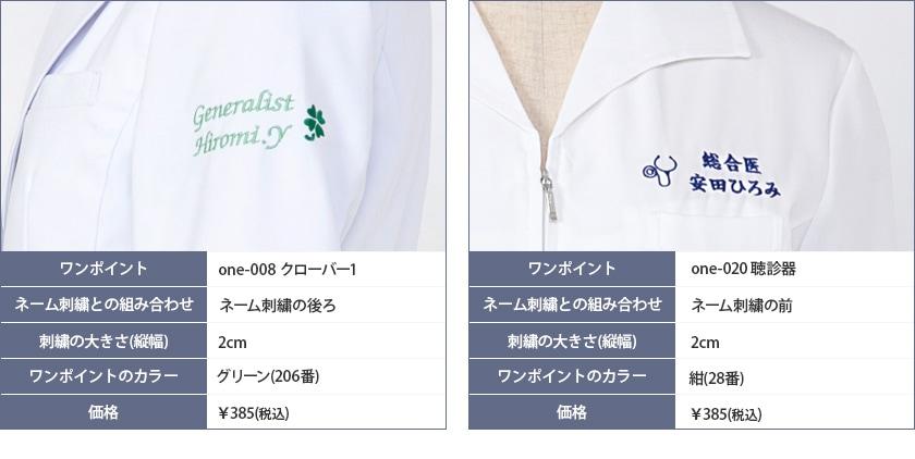 ワンポイント刺繍の実例