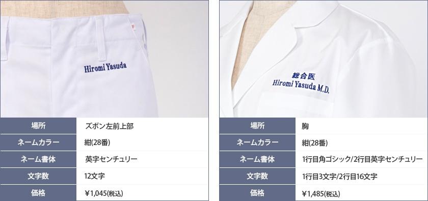 ネーム刺繍の実例