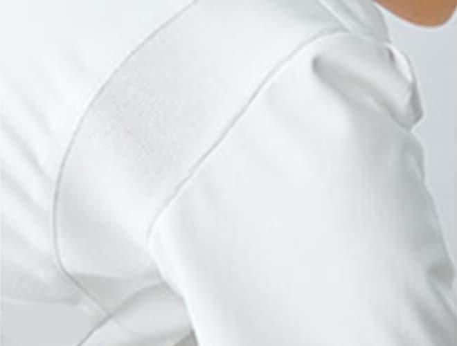 脇下ゴムで袖口の開きセーブ。背面イメージ