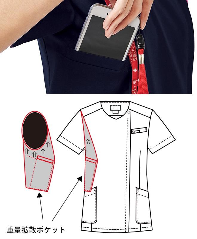 重みを分散する独自の設計の携帯電話収納ポケット。右肩に携帯電話のストラップを結びつけられるループ付きなので、首にストラップをかけずに携帯電話を持ち運びできます