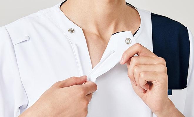 メンズスクラブのジップ部分は男前立(右前)の合わせ。シャツやジャケットと同じ感覚で着られます